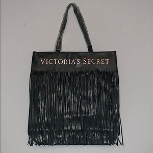 Black Victoria Secret Tote with fringe